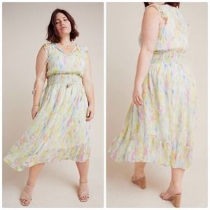 🆕 Anthropologie A+ Watercolor Pastel Maxi Dress